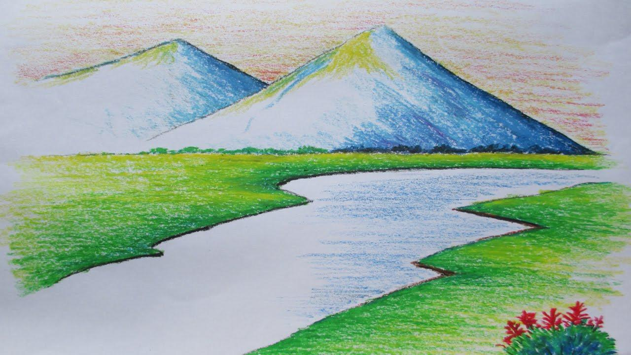 Simple Pastel Color Drawing Beginners Mountain Landscape