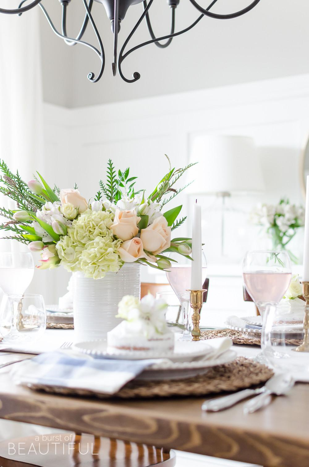 Simple Pink Gold Spring Tablescape Burst Beautiful