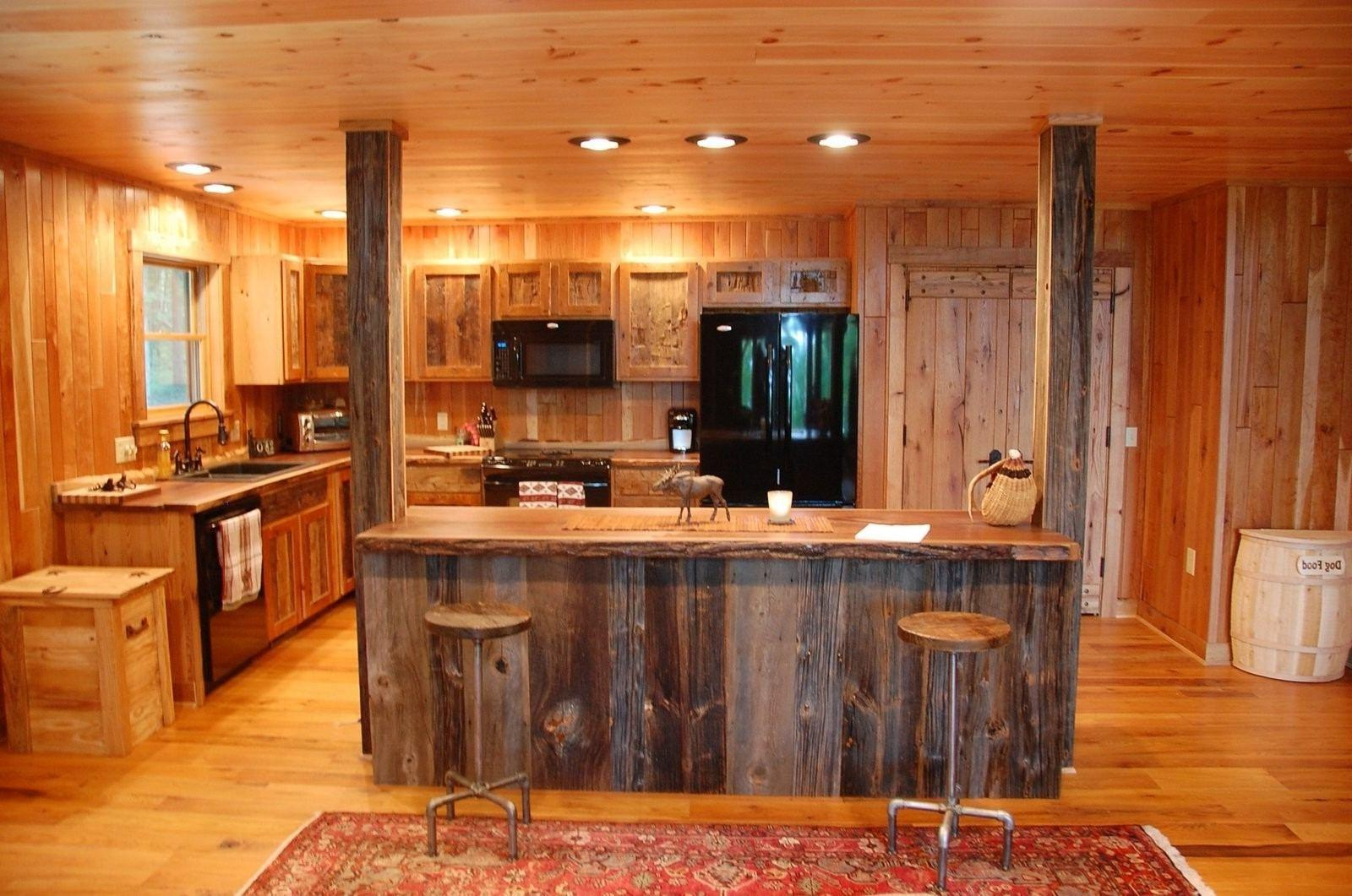 Simple Rustic Kitchen Brown Striped Accent Walls Color