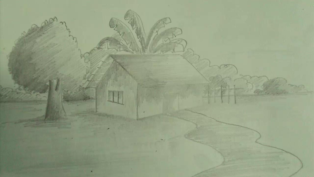 Simple Scenery Drawing Shading Easy Pencil