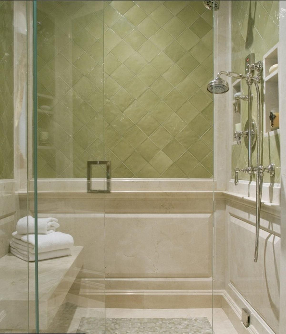 Simple Soft Green Bathroom Decor Shower Room