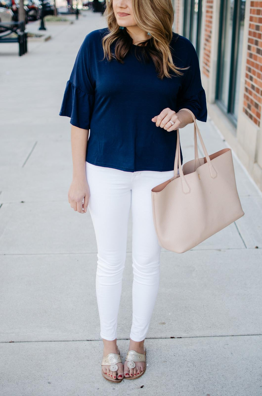 Simple Spring Outfit Bell Sleeve Tee Lauren