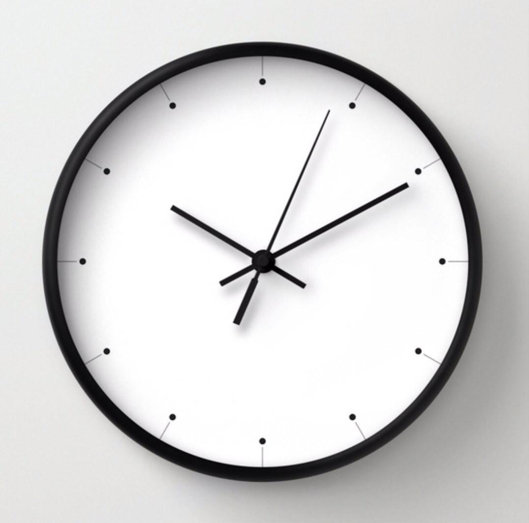 Simple Wall Clock Black White Minimalist Design