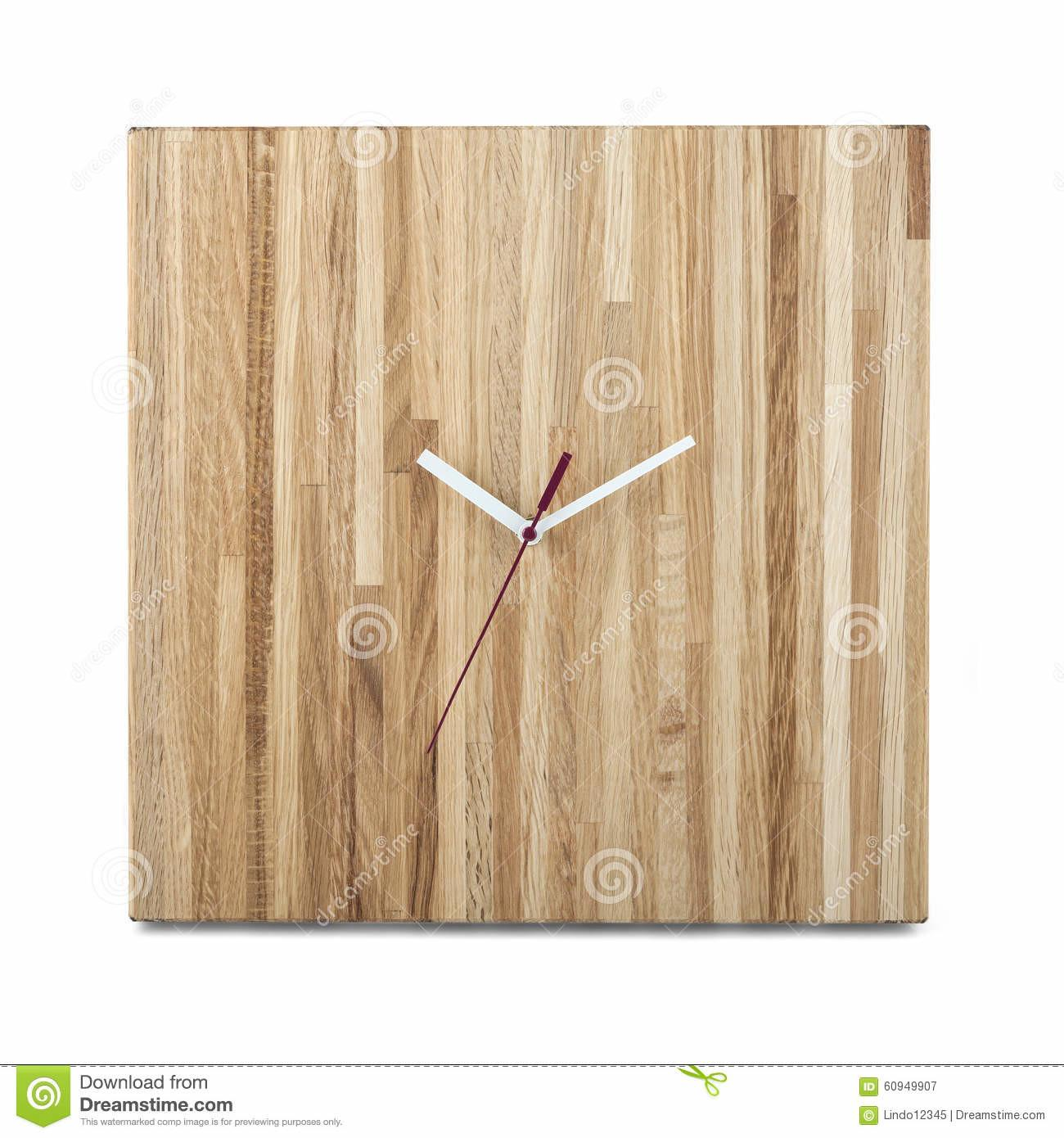 Simple Wooden Wall Watch Square Clock Isolated Stock