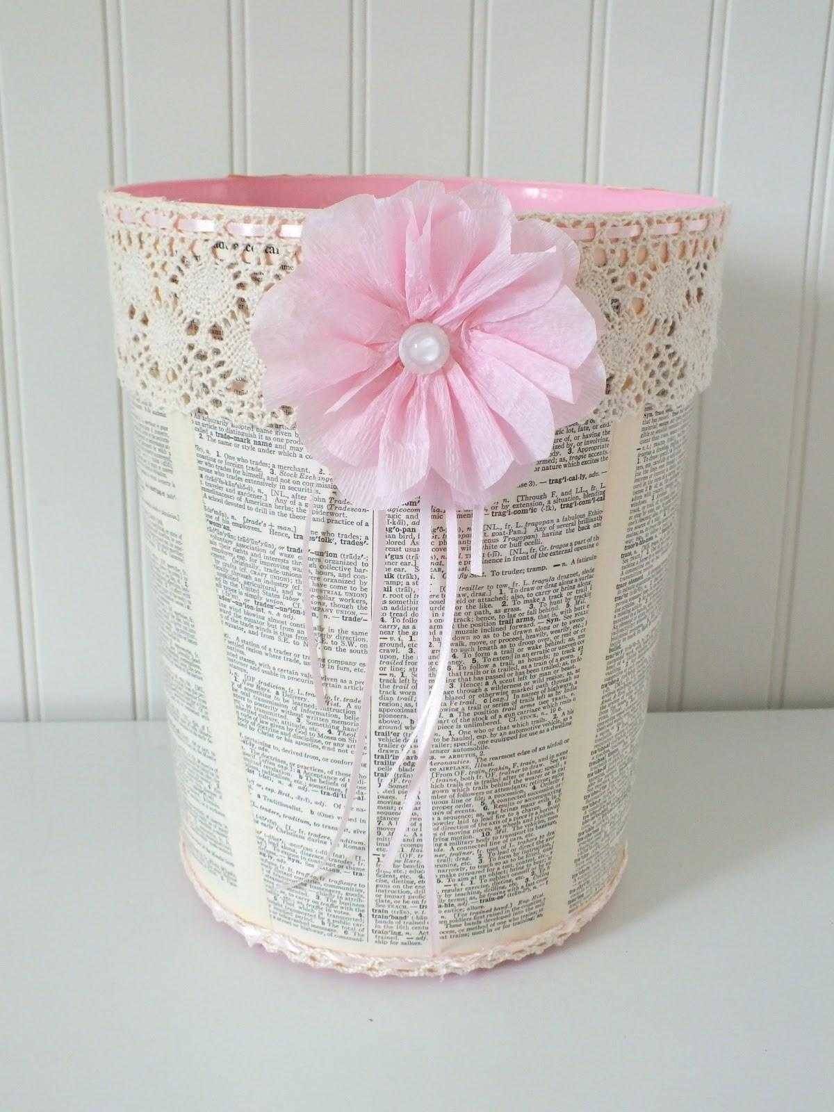 Simply Chic Treasures Shabby Trash Can Makeover