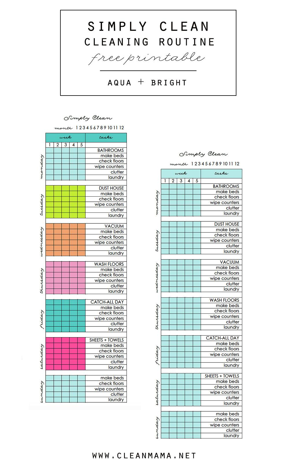 Simply Clean Cleaning Routine Glance Printable