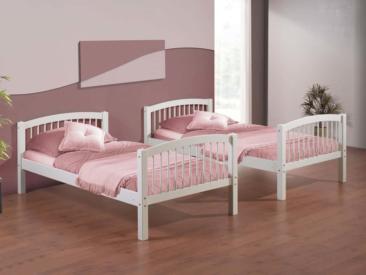 Simply White Bed Frame Soft Pink Colors Twin