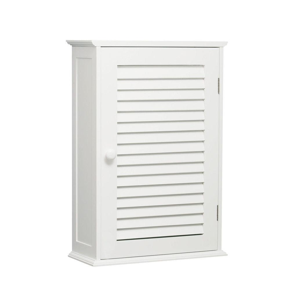 Single Door Shutter Two Shelf White Bathroom Wall Mounted