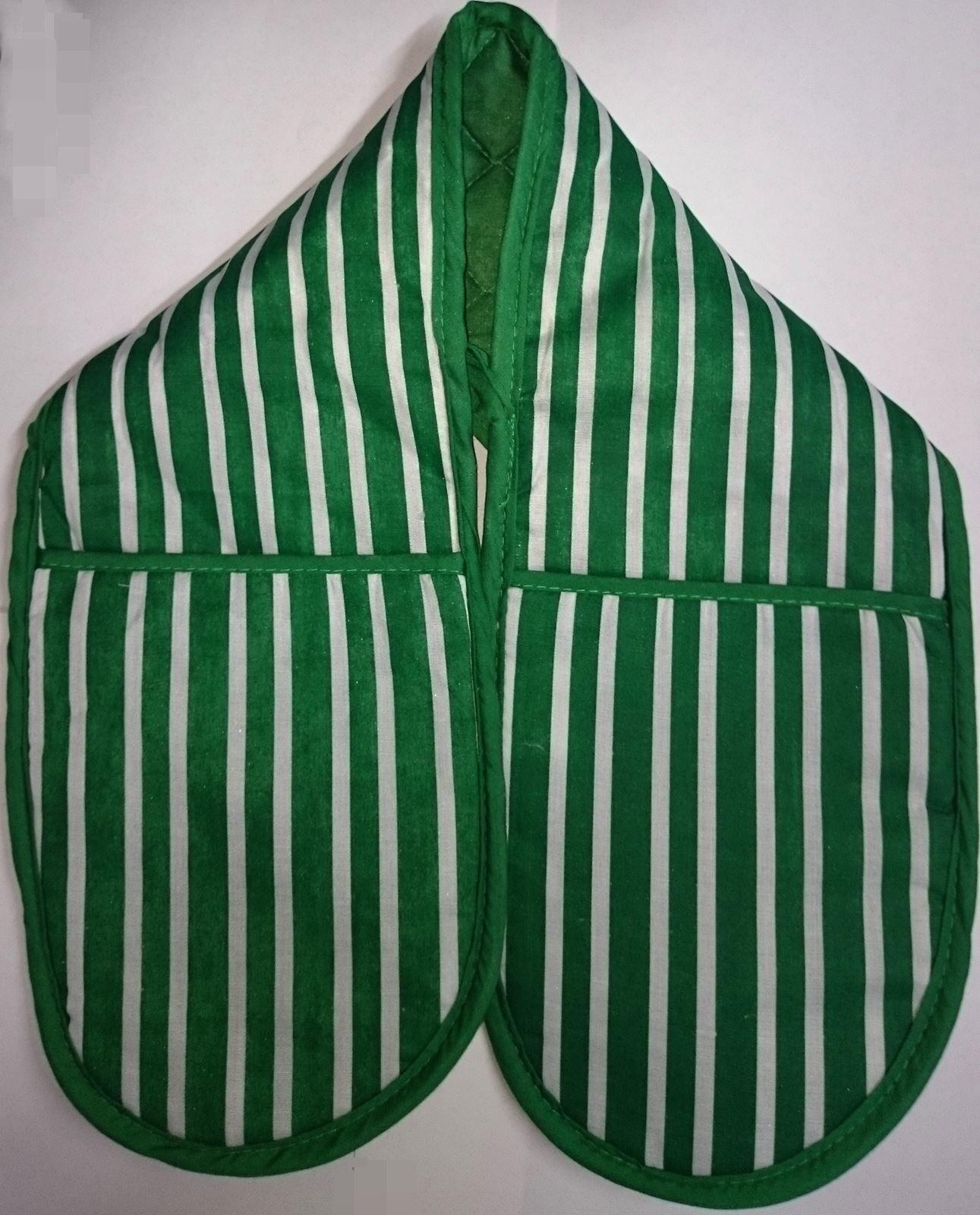 Single Double Striped Oven Glove Mitten Cotton Lined