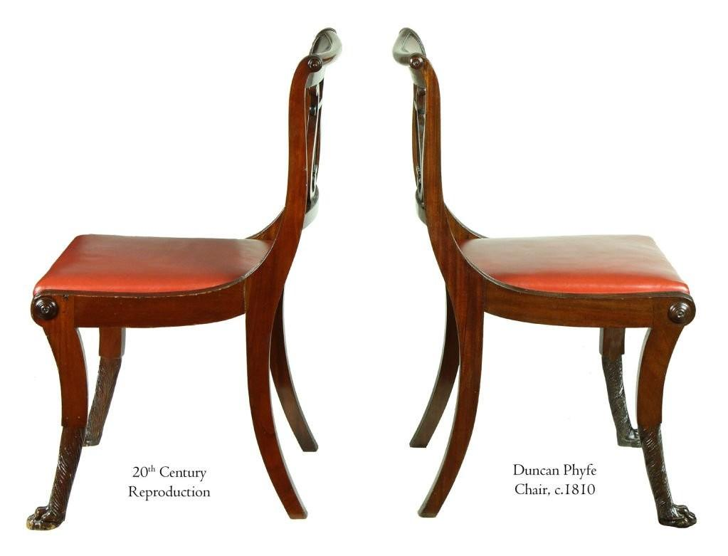 Six Phyfe Style Classical Lyre Chairs 1920s Burden