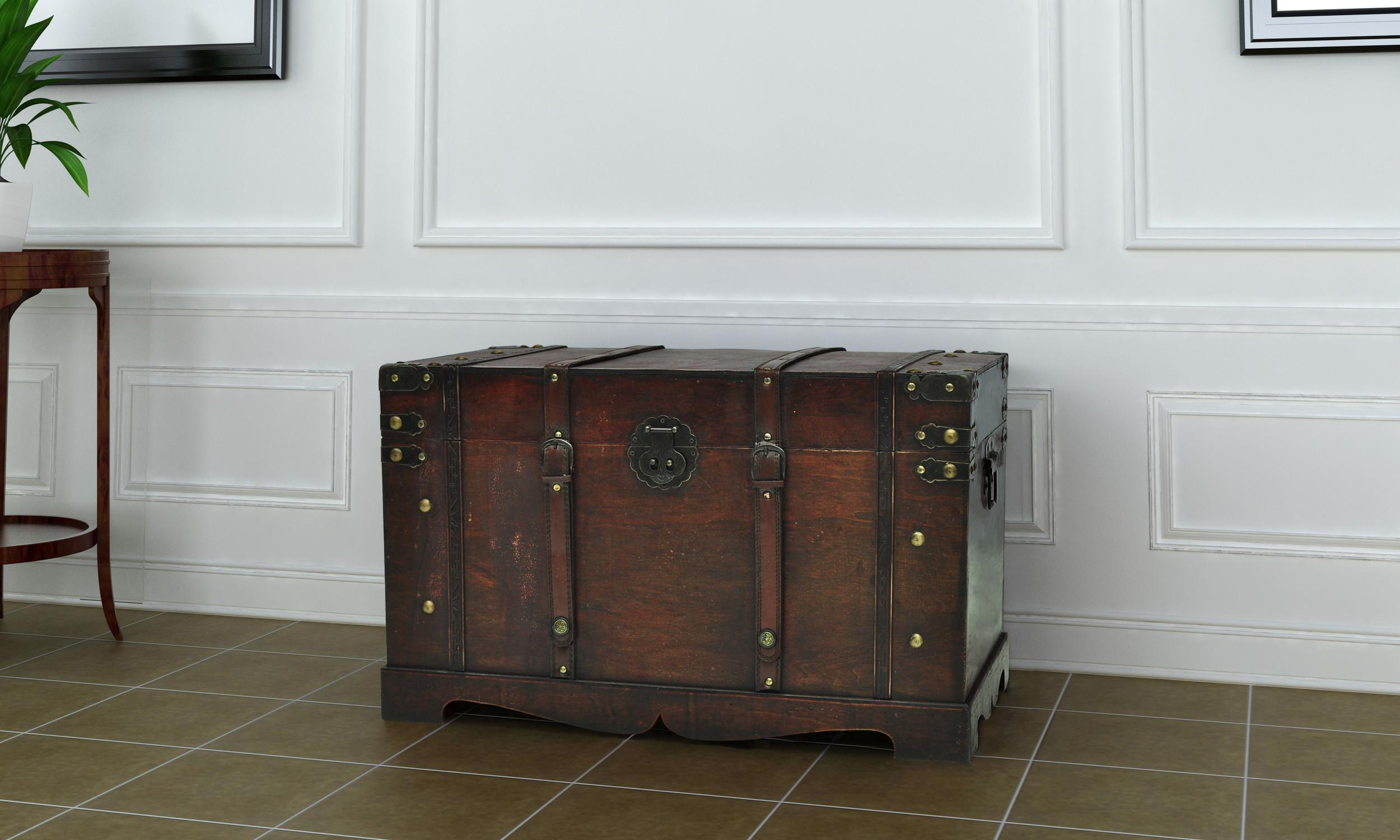 Sizes Brown Wooden Vintage Treasure Chest Travel Chunk