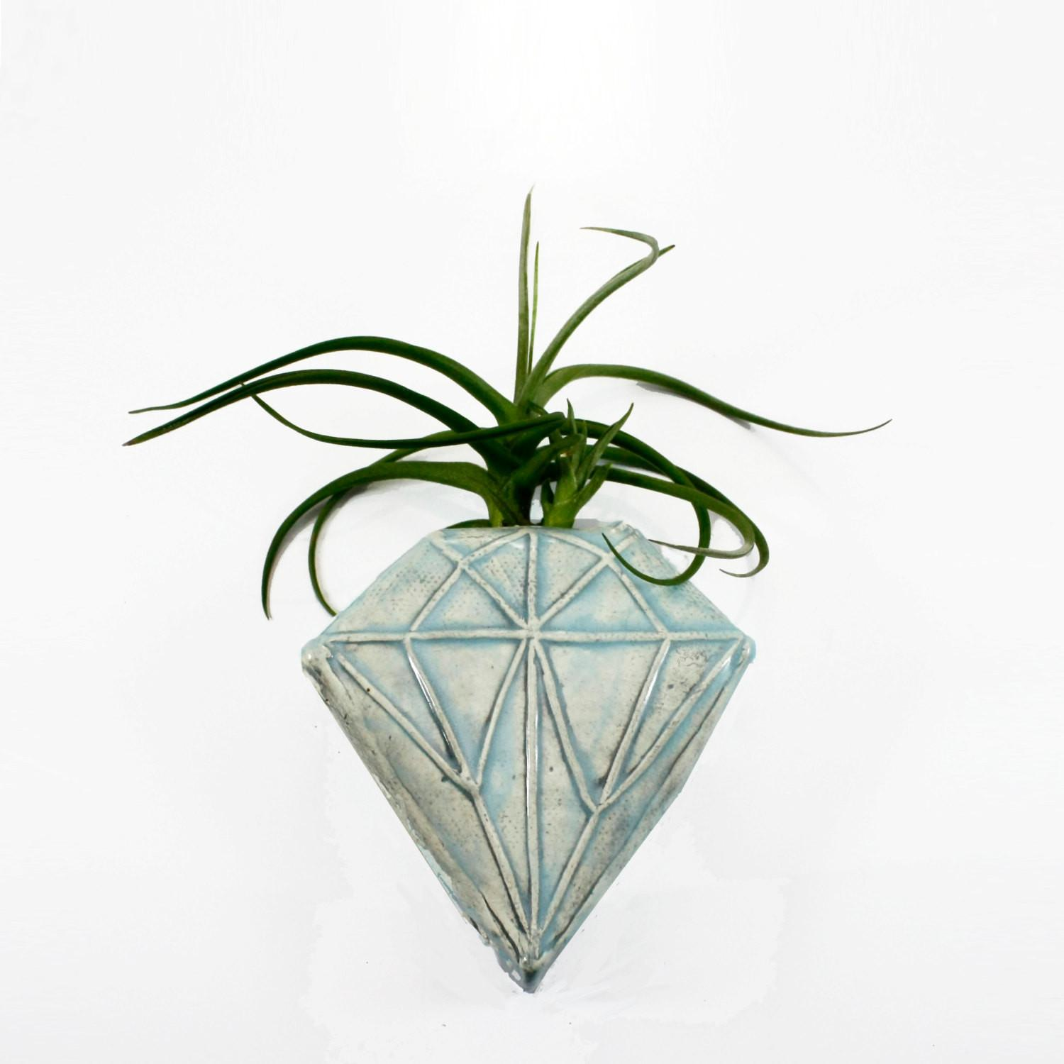Sky Blue Diamond Geometric Magnetic Clay Bud Vase Wall