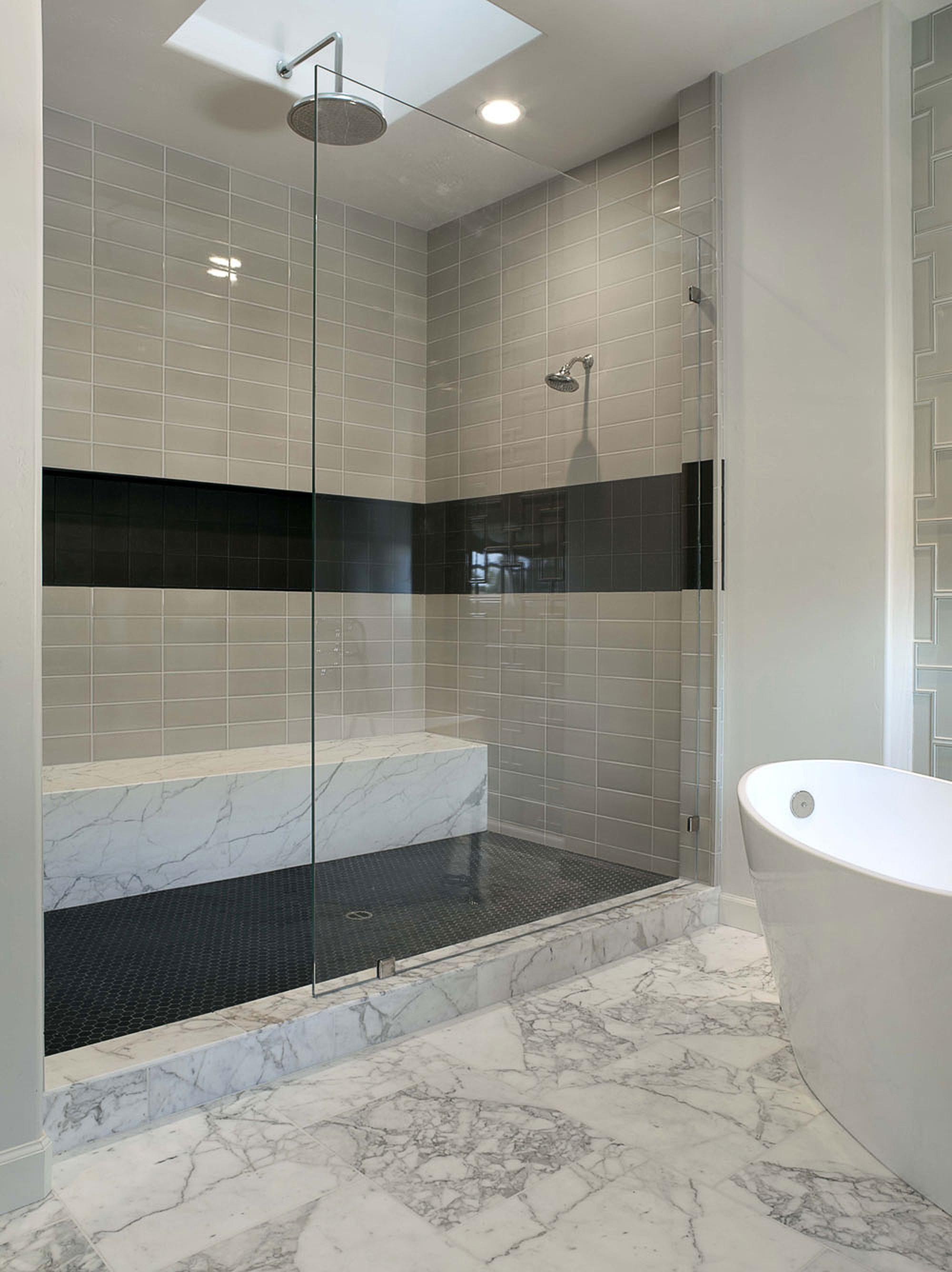 Sleek Cream Marble Bathroom Floor Tile Paired Two