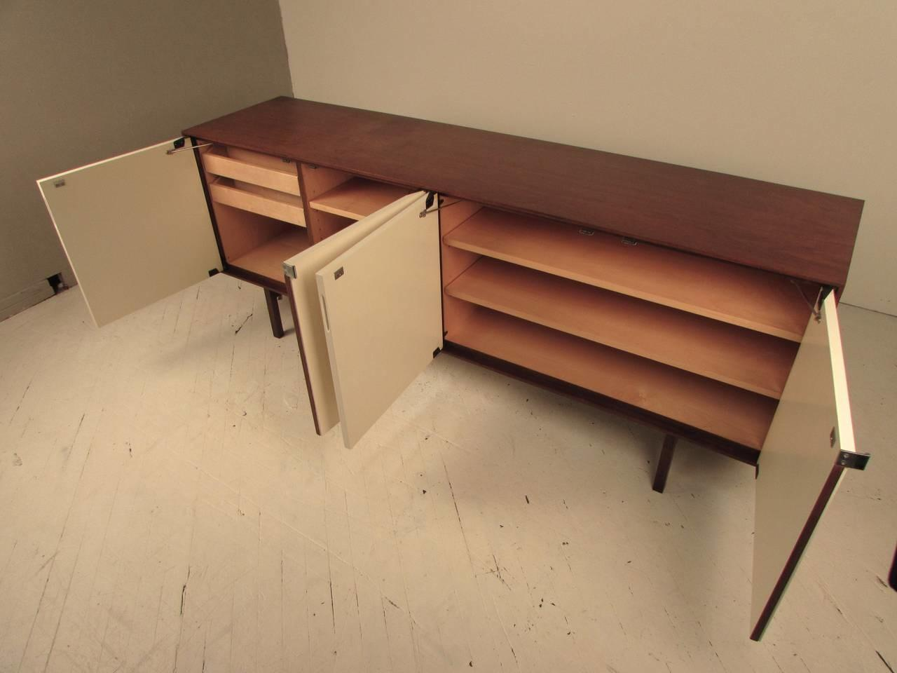 Sleek Florence Knoll Midcentury Walnut Lacquer
