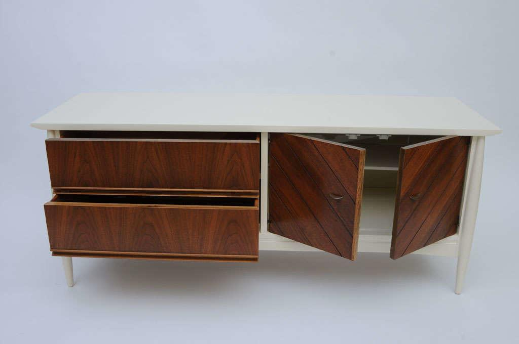 Sleek Low Modernage Lacquer Walnut Credenza 1stdibs