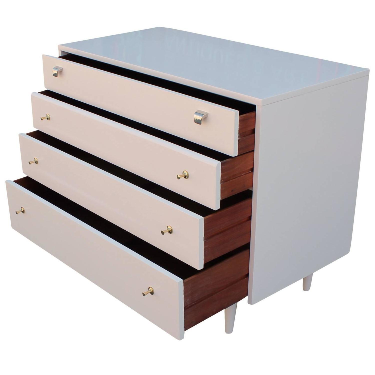 Sleek Neutral Lacquered Chest Brass Handles Sale