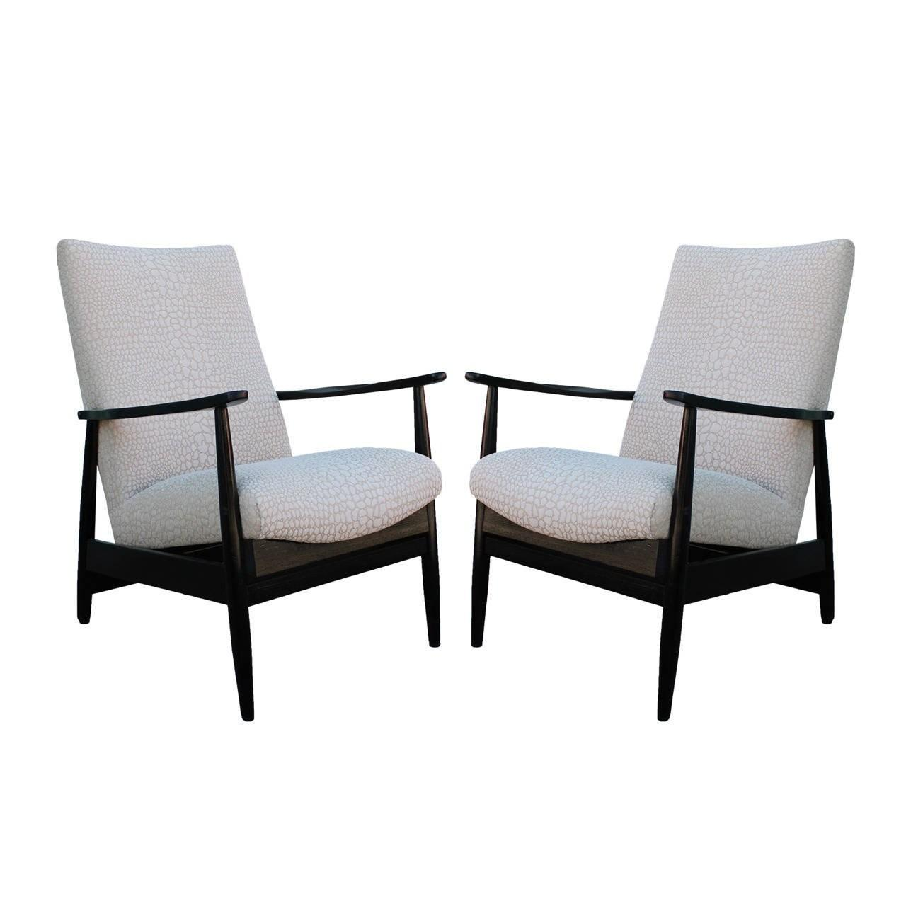 Sleek Pair Black Lacquered Armchairs 1stdibs