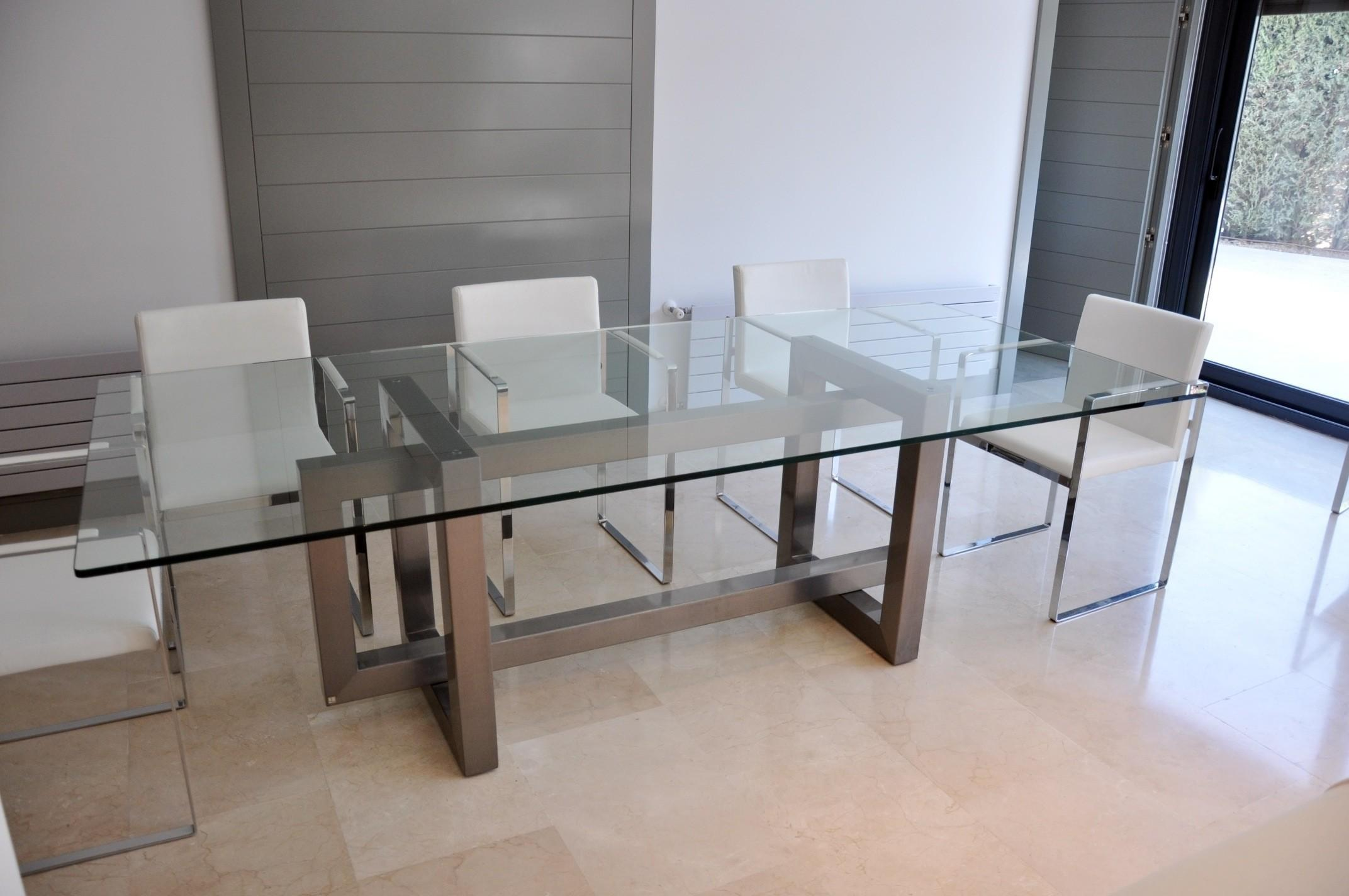 Sleek Stainless Steel Dining Tables Room Cabinet