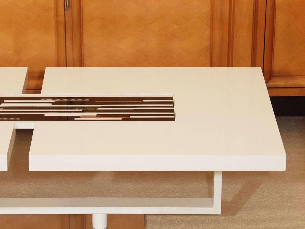 Sleek White Lacquer Table Inset Murano Glass Tile