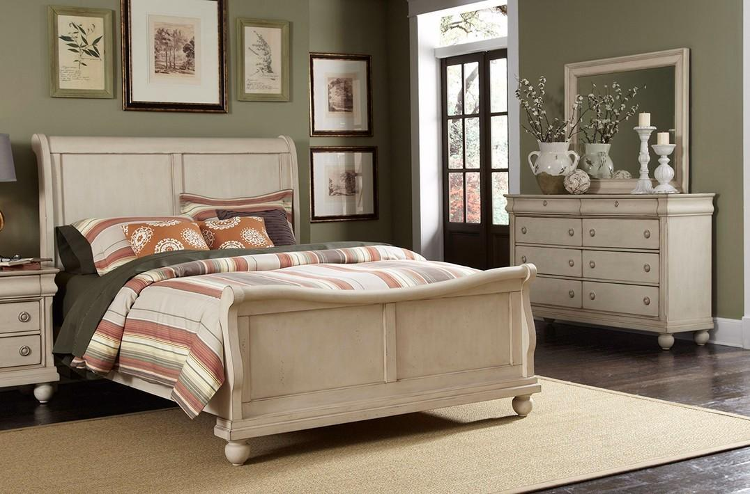Sleigh Bed Furniture Set White Bedroom