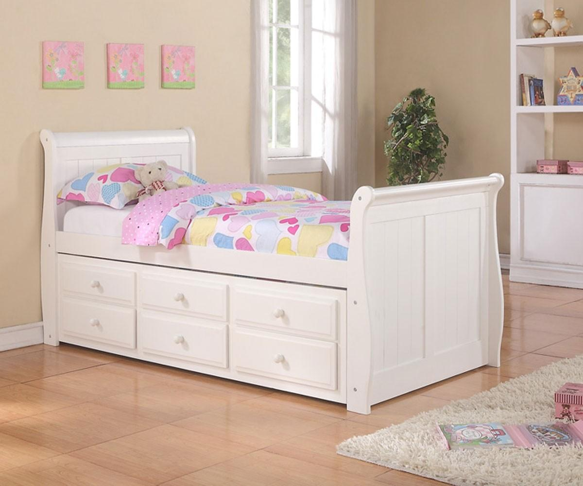 Sleigh Captains Trundle Bed White Bedroom Furniture