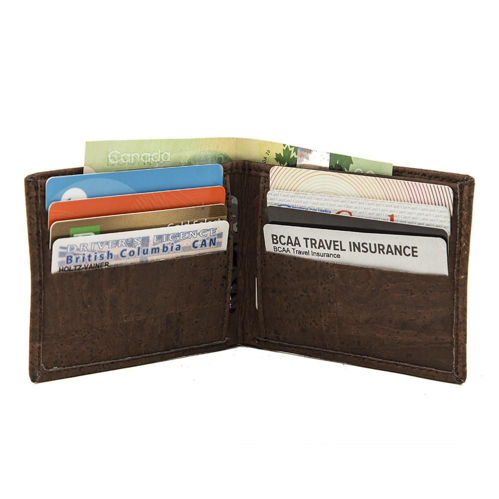 Slim Fold Brown Cork Wallet Vegan Gift Design