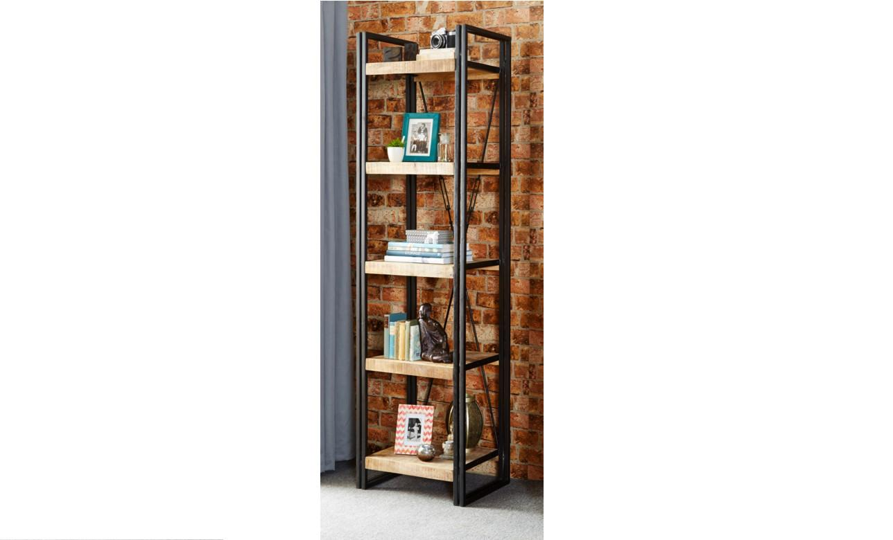 Slim Industrial Bookcase Reclaimed Rustic Wood Alcove