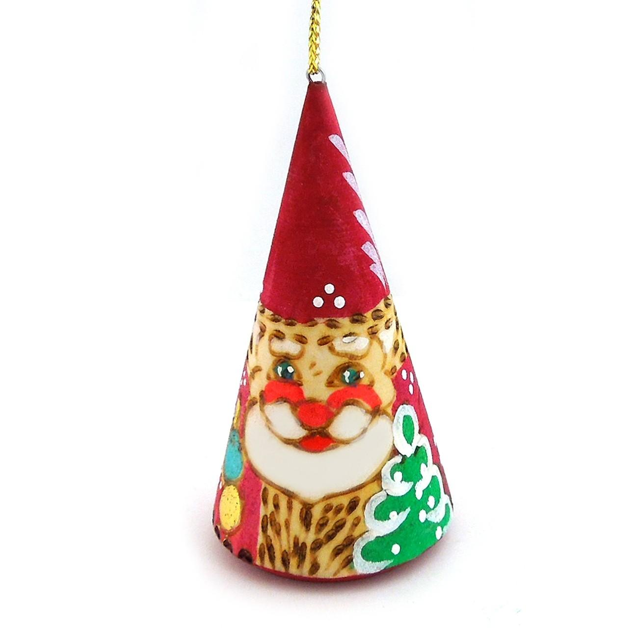 Small Accessories Russian Cone Shaped Hand Painted Santa