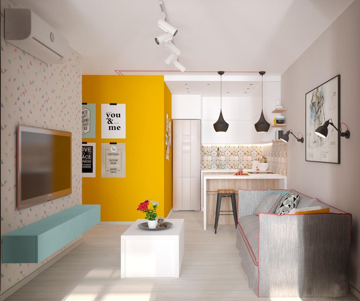 Small Apartment Design Yellow Shades Mariia