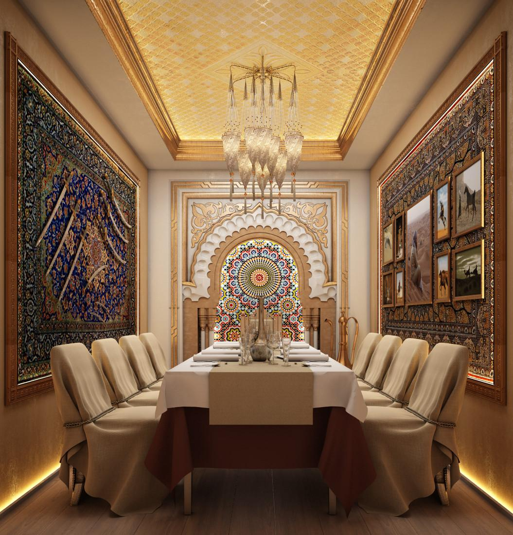 Small Banquet Room Arabic Style Restaurant Interior