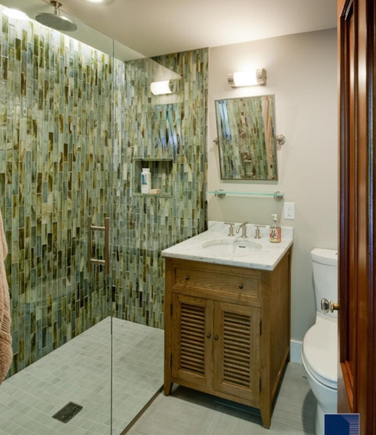 Small Bathroom Marble Vanity Shower Room Green