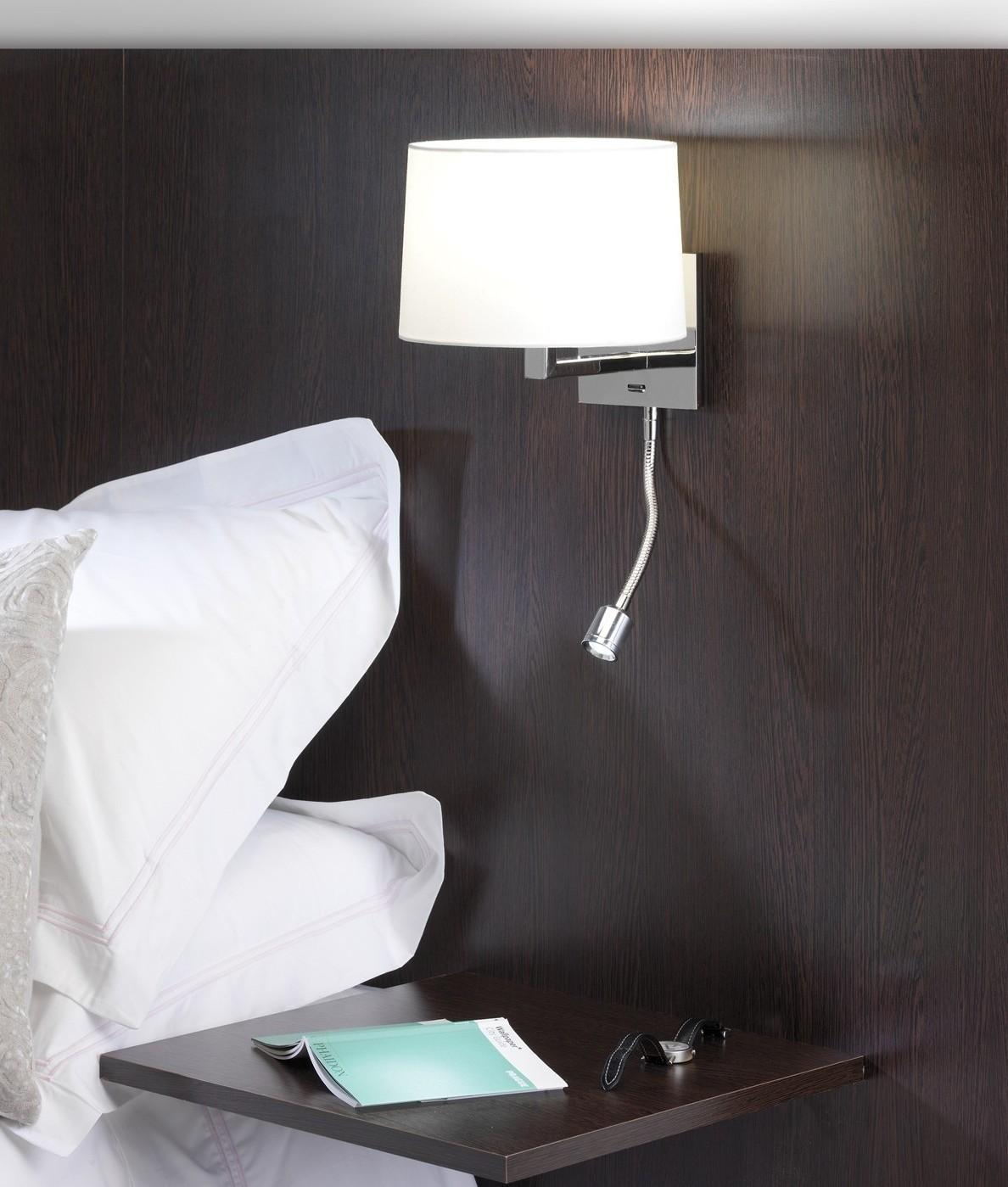 Small Bedside Wall Light Led Polished Nickel