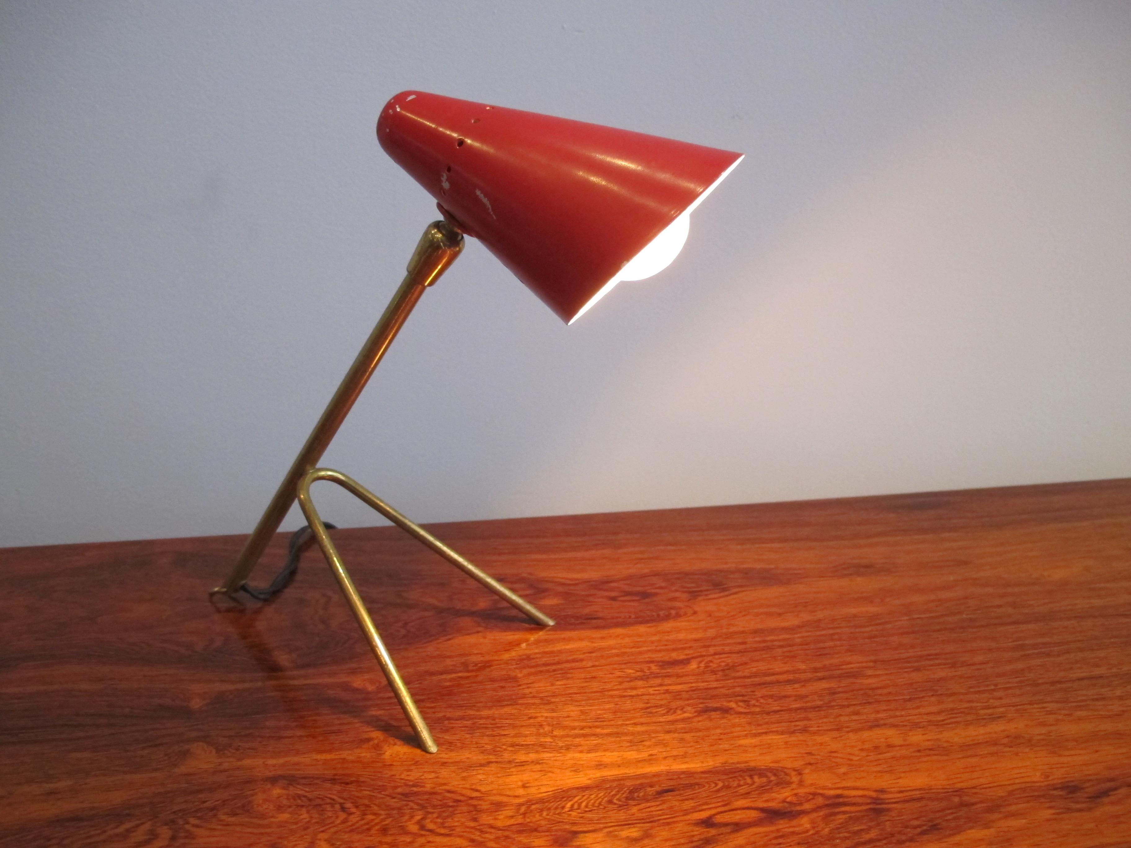 Small Brass Desk Lamp Perforated Steel Shade