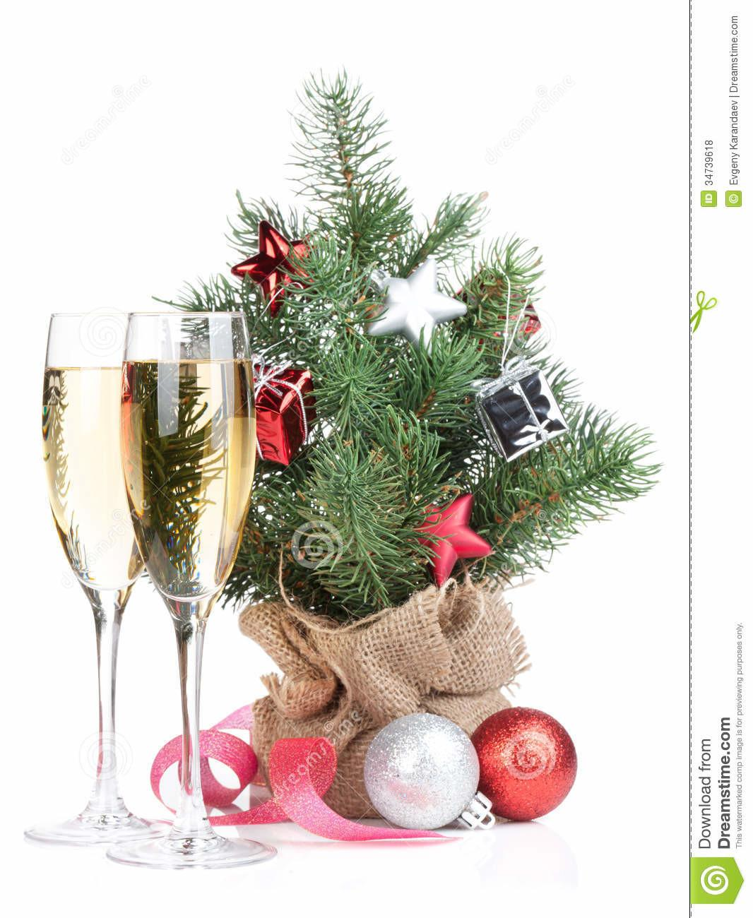 Small Christmas Tree Decor Two Champagne Glasses