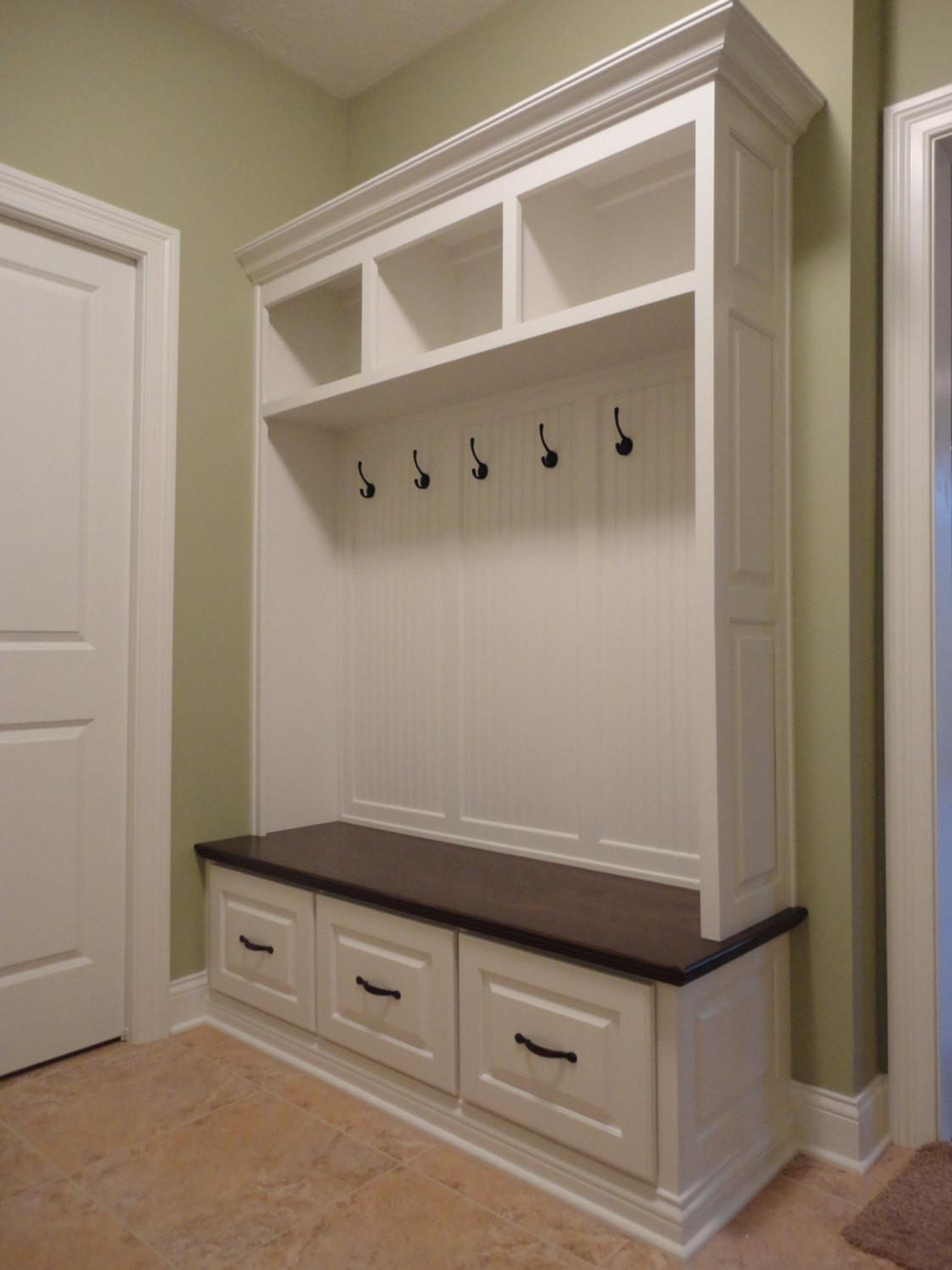Small Corner White Mudroom Cubby Design Hooks Under