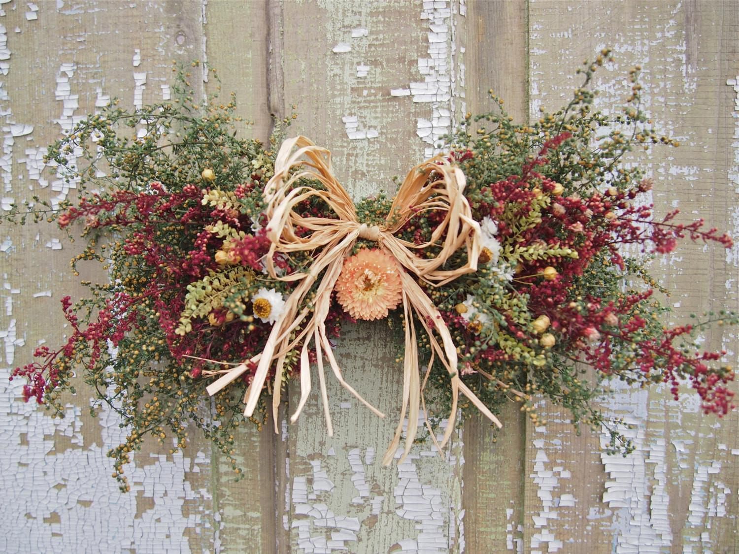 Small Country Dried Flower Swag Rustic Decor