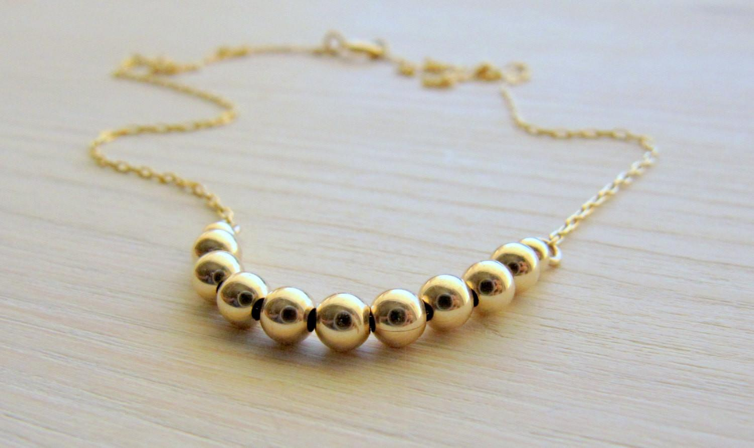 Small Gold Necklace Thin Tiny Lirlir