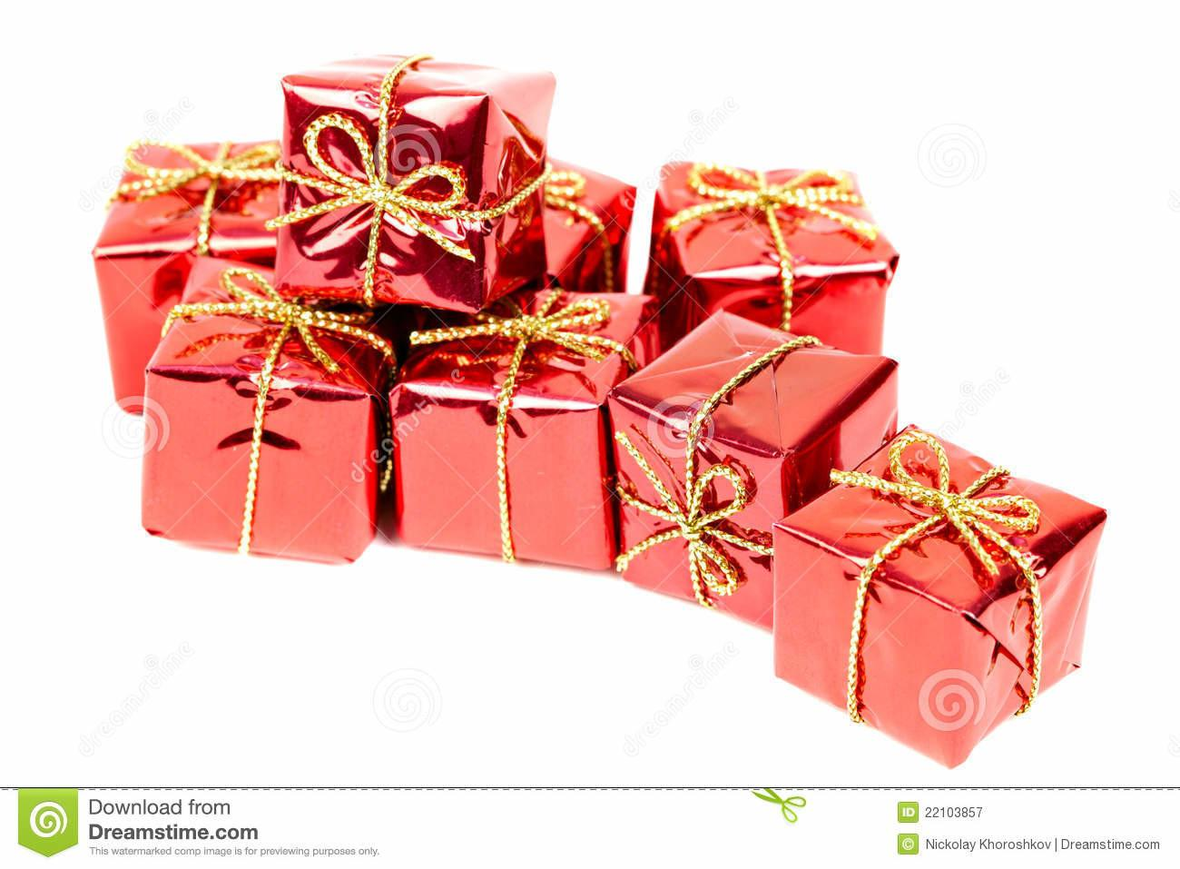 Small Holiday Gift Boxes Royalty Stock Photography