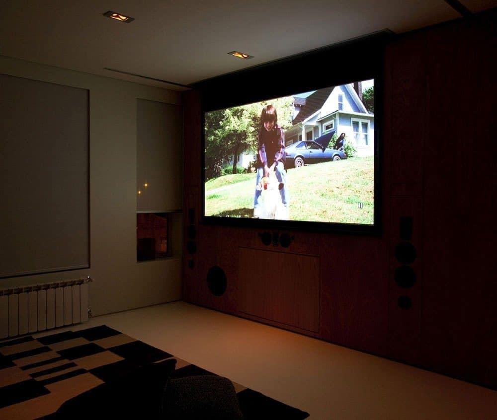 Small Home Theater Design Rug Comfy Simple