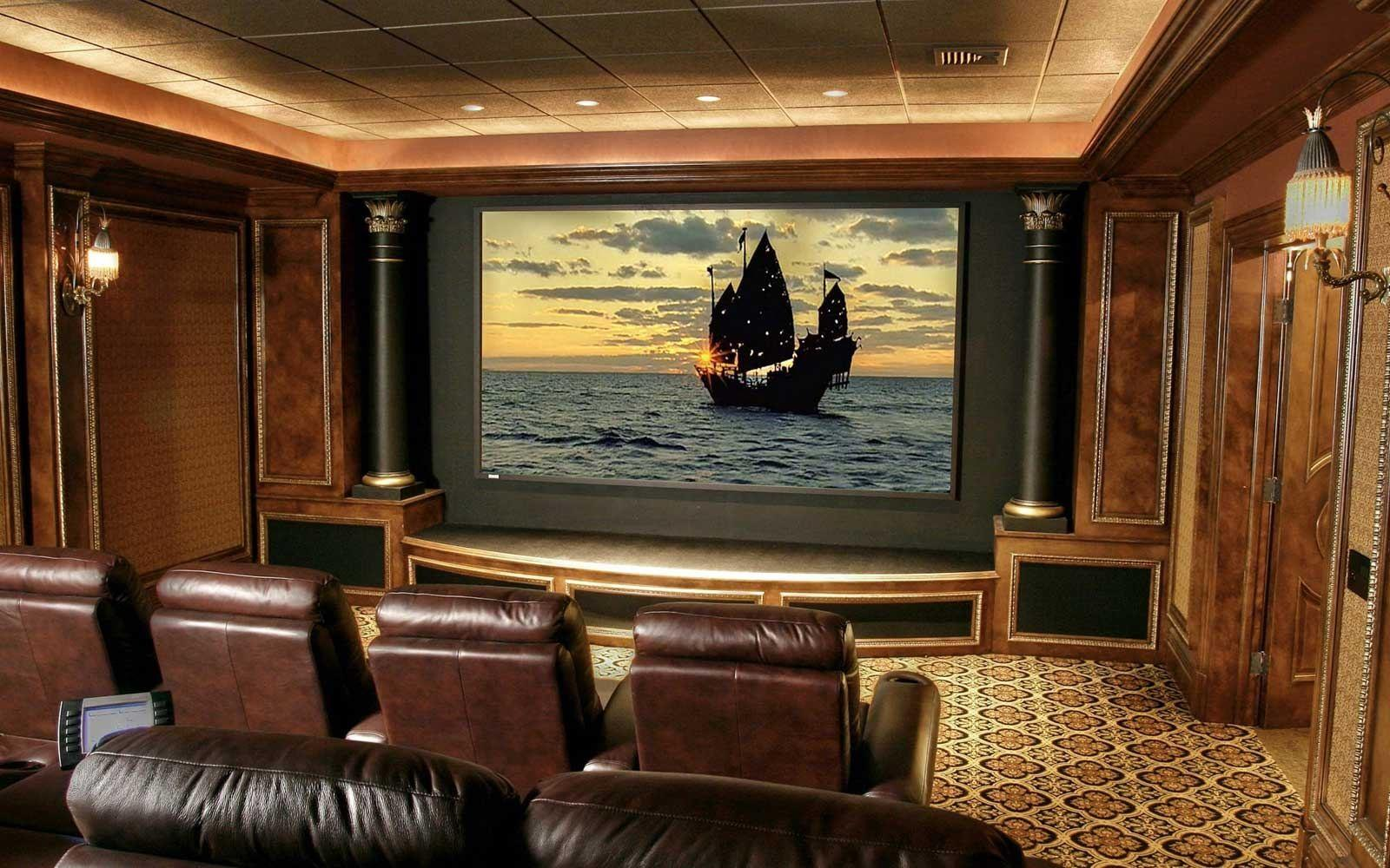 Small Home Theater Room Ideas Dvd Wall Shelves Twin Brown