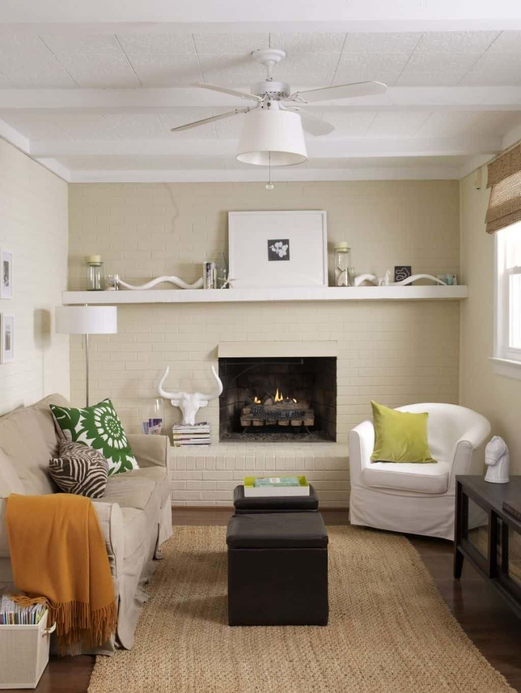 Small Living Room Fireplace Neutral Wall Colors