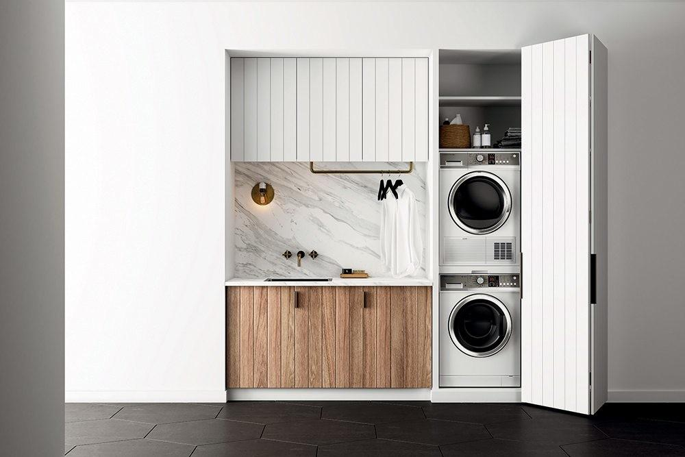Small Luxury Laundry Rooms Marble Brass Fisher