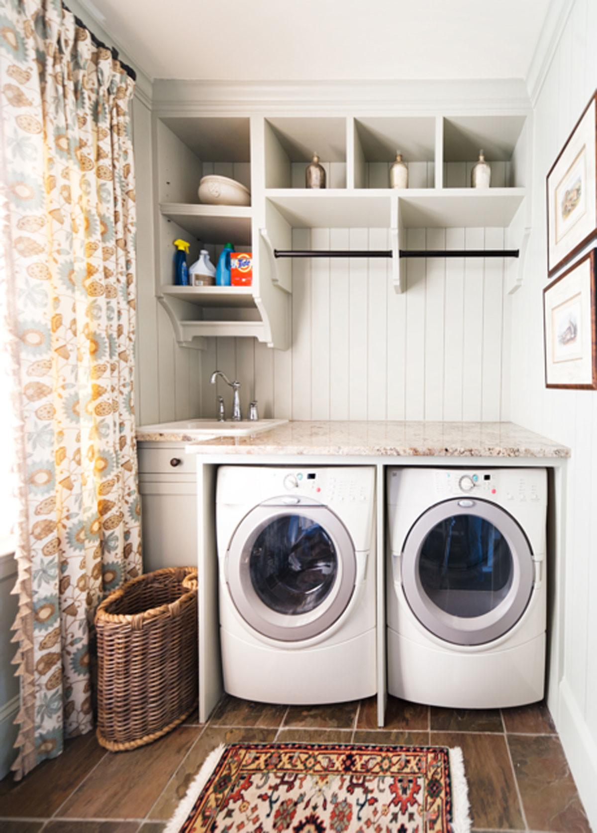 Small Narrow Laundry Room Design Washer Dryer