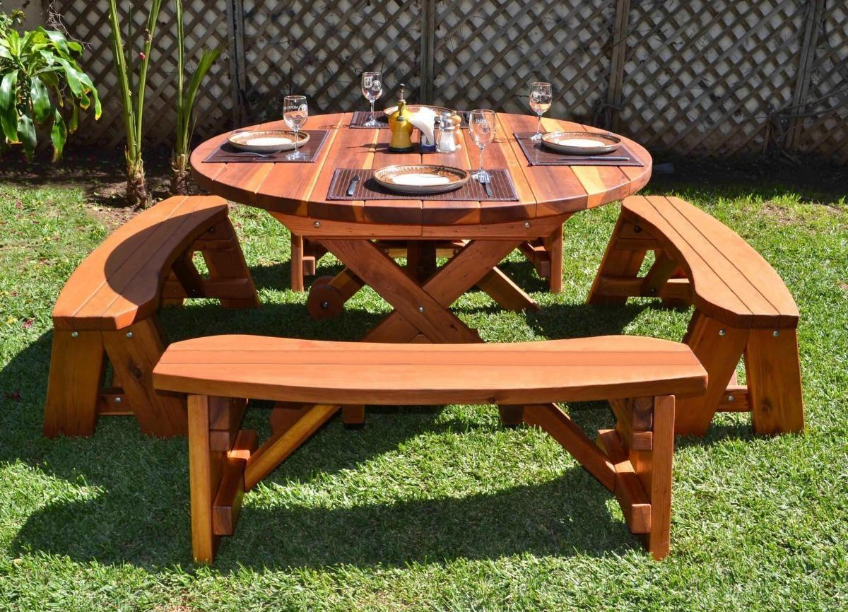 Small Round Outdoor Wooden Picnic Table Separate