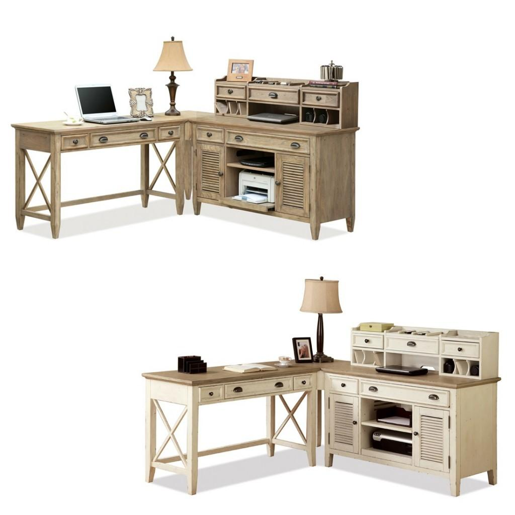 Small Shaped Desks Within Desk Hutch