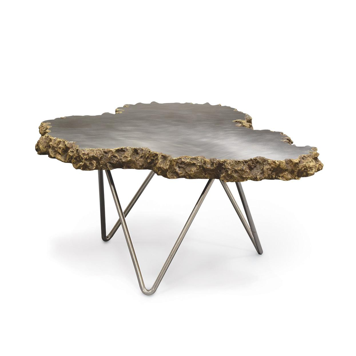 Small Stainless Steel Lava Stone Coffee Table Mecox