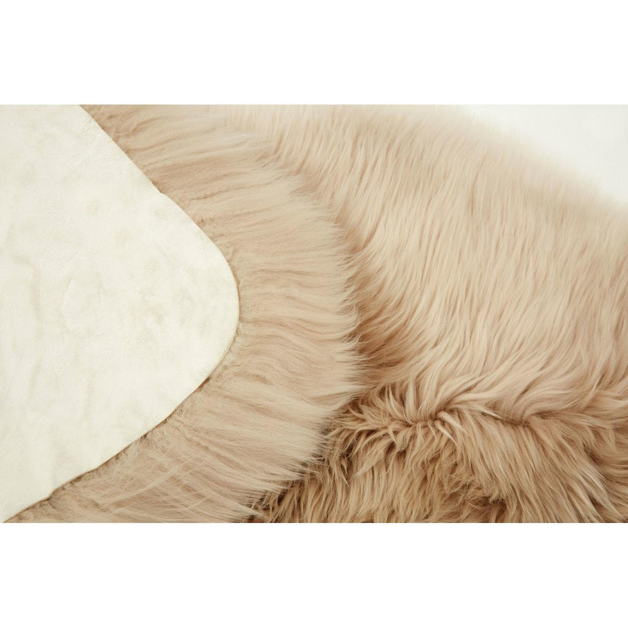 Small Stone Brown Sheepskin Rug 100 Wool X5cm Shaggy