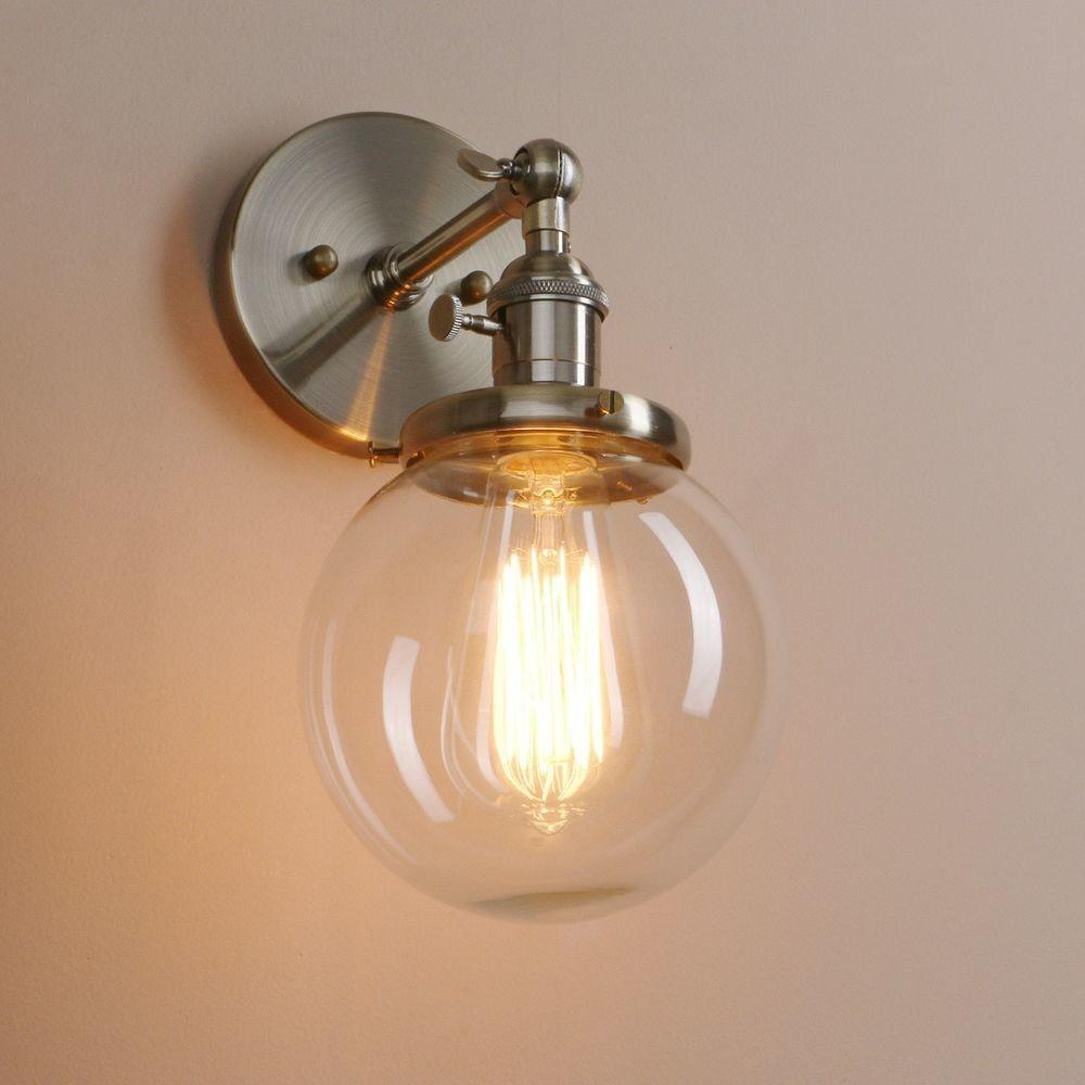Small Vintage Industrial Brushed Sconce Lamp Globe Glass
