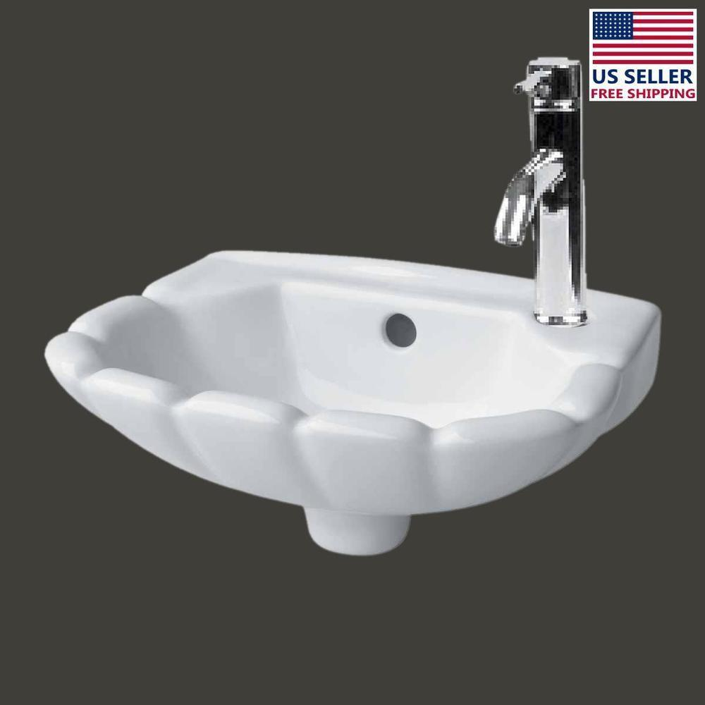 Small Wall Mount Bathroom Hung White Periwinkle