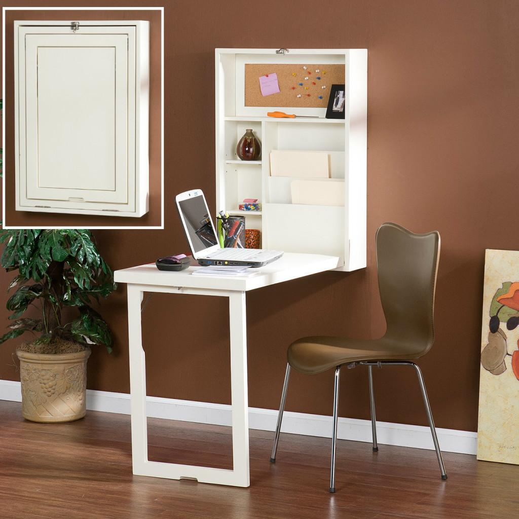 Small White Fold Out Convertible Writing Desk Shelves